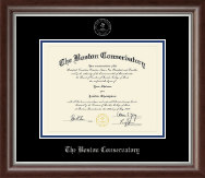 The Boston Conservatory at Berklee Diploma Frame - Silver Embossed Diploma Frame in Devonshire