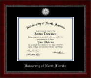 University of North Florida Diploma Frame - Silver Engraved Medallion Diploma Frame in Sutton