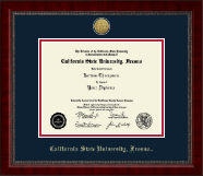 California State University Fresno Diploma Frame - Gold Engraved Medallion Diploma Frame in Sutton