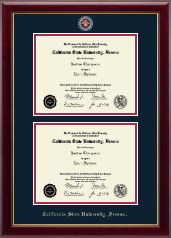 California State University Fresno Diploma Frame - Masterpiece Medallion Double Diploma Frame in Gallery