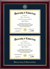 University of Connecticut Diploma Frame - Masterpiece Medallion Double Diploma Frame in Gallery