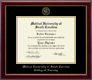 Medical University of South Carolina Diploma Frame - Gold Embossed Diploma Frame in Gallery