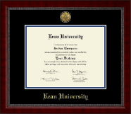 Kean University Diploma Frame - Gold Engraved Medallion Diploma Frame in Sutton