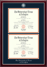 The University of Texas at Arlington Diploma Frame - Masterpiece Medallion Double Diploma Frame in Gallery Silver