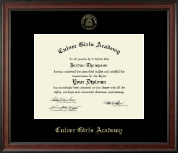 Culver Academies Diploma Frame - Gold Embossed Diploma Frame in Studio