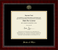 State of Ohio Certificate Frame - Gold Embossed Certificate Frame in Sutton