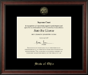 State of Ohio Certificate Frame - Gold Embossed Certificate Frame in Studio