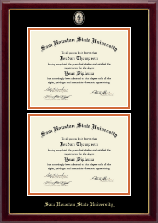 Sam Houston State University Diploma Frame - Masterpiece Medallion Double Diploma Frame in Gallery