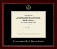 Commonwealth of Pennsylvania Certificate Frame - Gold Embossed Certificate Frame in Sutton