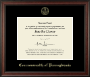 Commonwealth of Pennsylvania Certificate Frame - Gold Embossed Certificate Frame in Studio