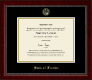State of Florida Certificate Frame - Gold Embossed Certificate Frame in Sutton
