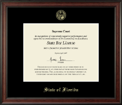 State of Florida Certificate Frame - Gold Embossed Certificate Frame in Studio