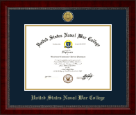 United States Naval War College Diploma Frame - Gold Engraved Medallion Diploma Frame in Sutton