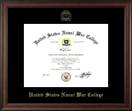 United States Naval War College Diploma Frame - Gold Embossed Diploma Frame in Studio