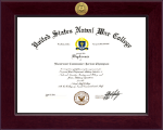 United States Naval War College Diploma Frame - Century Gold Engraved Diploma Frame in Cordova