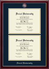 Drexel University Diploma Frame - Masterpiece Medallion Double Diploma Frame in Gallery