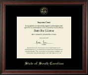 State of South Carolina Certificate Frame - Gold Embossed Certificate Frame in Studio