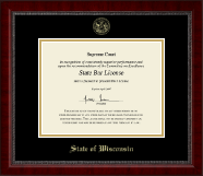 State of Wisconsin Certificate Frame - Gold Embossed Certificate Frame in Sutton