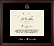 State of Wisconsin Certificate Frame - Gold Embossed Certificate Frame in Studio