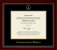 Commonwealth of Virginia Certificate Frame - Gold Embossed Certificate Frame in Sutton