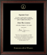 Commonwealth of Virginia Certificate Frame - Gold Embossed Certificate Frame in Studio