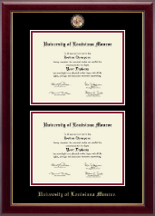 University of Louisiana Monroe Diploma Frame - Masterpiece Medallion Double Diploma Frame in Gallery