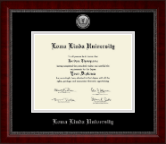 Loma Linda University Diploma Frame - Silver Engraved Medallion Diploma Frame in Sutton