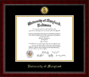 University of Maryland Baltimore Diploma Frame - Gold Engraved Medallion Diploma Frame in Sutton