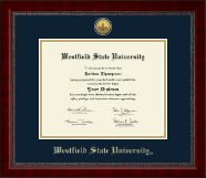 Westfield State University Diploma Frame - Gold Engraved Medallion Diploma Frame in Sutton