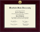 Westfield State University Diploma Frame - Century Gold Engraved Diploma Frame in Cordova