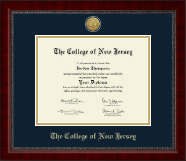 The College of New Jersey Diploma Frame - Gold Engraved Medallion Diploma Frame in Sutton