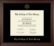 The College of New Jersey Diploma Frame - Gold Embossed Diploma Frame in Studio