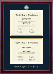 The College of New Jersey Diploma Frame - Masterpiece Medallion Double Diploma Frame in Gallery