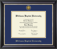 Williams Baptist University Diploma Frame - Gold Engraved Medallion Diploma Frame in Noir