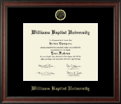 Williams Baptist University Diploma Frame - Gold Embossed Diploma Frame in Studio