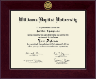 Williams Baptist University Diploma Frame - Century Gold Engraved Diploma Frame in Cordova
