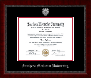 Southern Methodist University Diploma Frame - Silver Engraved Medallion Diploma Frame in Sutton