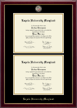 Loyola University Maryland Diploma Frame - Masterpiece Medallion Double Diploma Frame in Gallery
