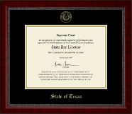 State of Texas Certificate Frame - Gold Embossed Certificate Frame in Sutton