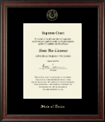 State of Texas Certificate Frame - Gold Embossed Certificate Frame in Studio