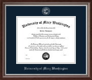 University of Mary Washington Diploma Frame - Silver Embossed Diploma Frame in Devonshire