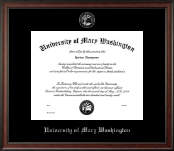University of Mary Washington Diploma Frame - Silver Embossed Diploma Frame in Studio