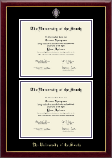 The University of the South Diploma Frame - Masterpiece Medallion Double Diploma Frame in Gallery