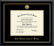 The University of Iowa Diploma Frame - Gold Engraved Medallion Diploma Frame in Onyx Gold