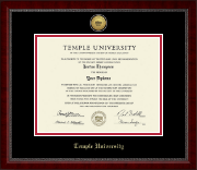 Temple University Diploma Frame - Gold Engraved Medallion Diploma Frame in Sutton