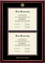 Elon University Diploma Frame - Masterpiece Medallion Double Diploma Frame in Gallery