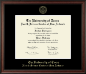 UT Health Science Center at San Antonio Diploma Frame - Gold Embossed Diploma Frame in Studio