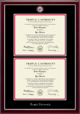 Temple University Diploma Frame - Masterpiece Medallion Double Diploma Frame in Gallery Silver