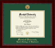 Marshall University Diploma Frame - Gold Engraved Medallion Diploma Frame in Sutton