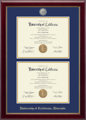 University of California Riverside Diploma Frame - Masterpiece Medallion Double Diploma Frame in Gallery